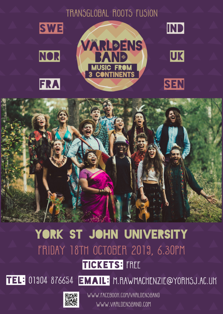 Poster for Varldens Band concert at York St John University.